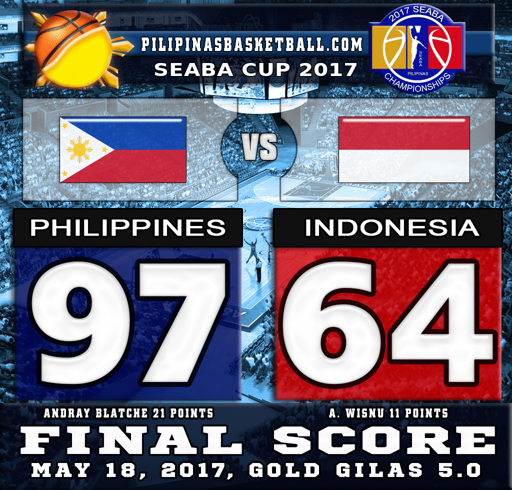 SEABA Cup 2017 Result Philippines 97 Indonesia 64 May 18 2017