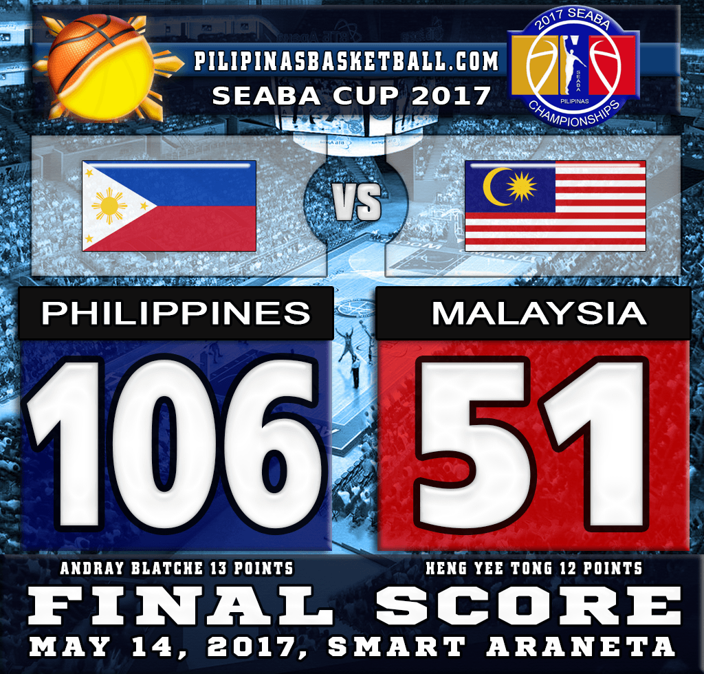 SEABA Cup 2017 Result Philippines 106 Malaysia 51 May 14 2017